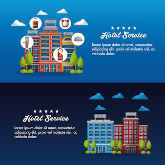 Hotel service flyer advertising business vector illustration