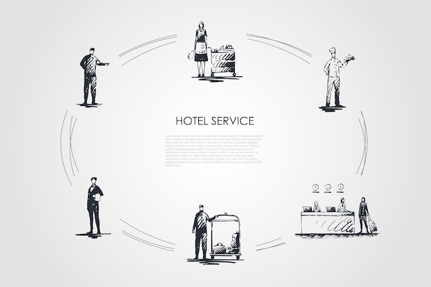 Hotel service hand drawn cicle