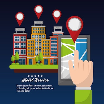Hotel service hand with smartphone location