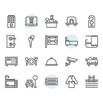 Hotel service icon and symbol set in outline