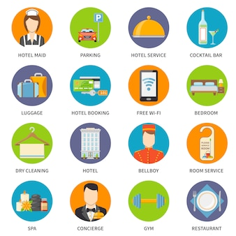 Hotel service icons set