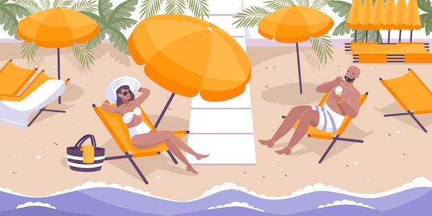 해변 리조트와 호텔 서비스 그림