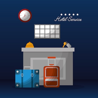 Hotel service reception suitcases bell key clock