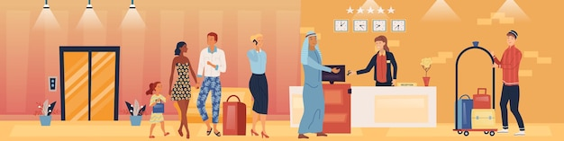 Hotel service and staff concept illustration