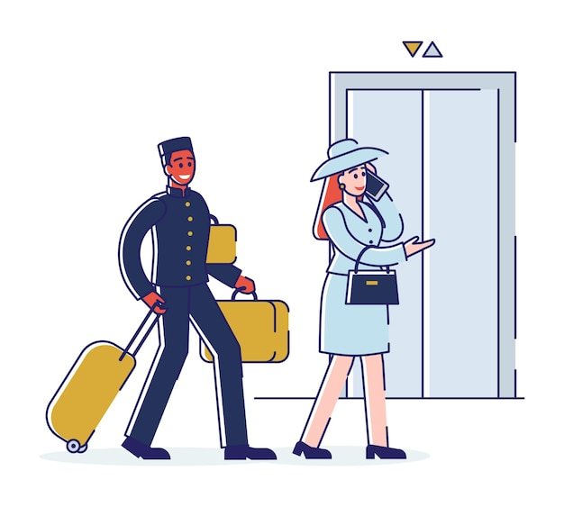 Hotel service and staff concept. porter is escorting business woman to apartments and carrying luggage. cartoon outline linear flat .