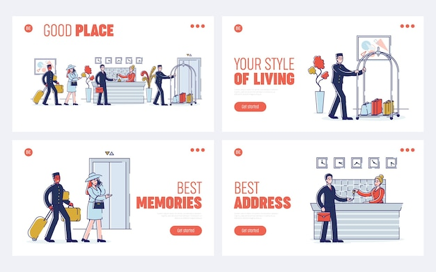 Hotel service and staff concept. website landing page. the process of meeting and accommodation guests in the hotel. set of web pages cartoon outline linear flat.