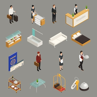 Hotel service and staff tourist with luggage furniture isometric icons isolated on grey