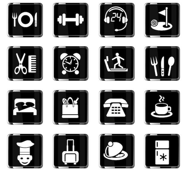 ユーザーインターフェイスデザインのためのホテルサービスwebアイコン