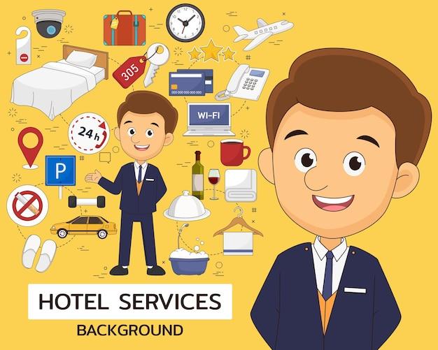 Плоские значки концепции гостиничных услуг
