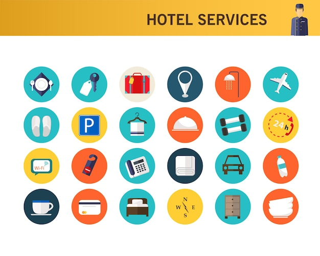 Hotel services consept flat icons.