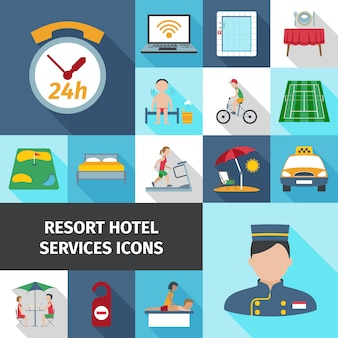 Hotel services flat icon set