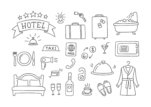 호텔 서비스 손으로 그려진 개체. 흰색 바탕에 낙서 스타일