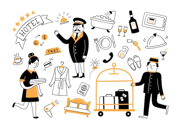 Hotel services and hotel staff. hand drawn objects.