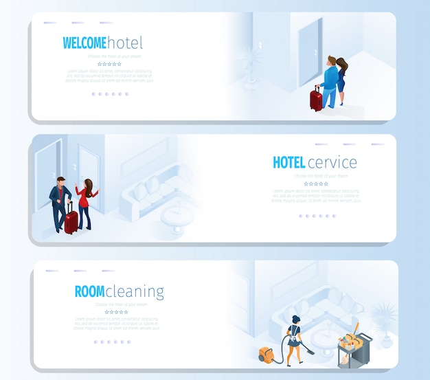 Hotel services for travel vector banners set