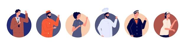 ホテルスタッフのアバター。ホステルチーム、マネージャーシェフのメイドポーター、受付係。男性と女性のキャラクターの挨拶。おもてなしの労働者のベクトル図。アバタースタッフの女性と男性、ビジネスユニフォーム
