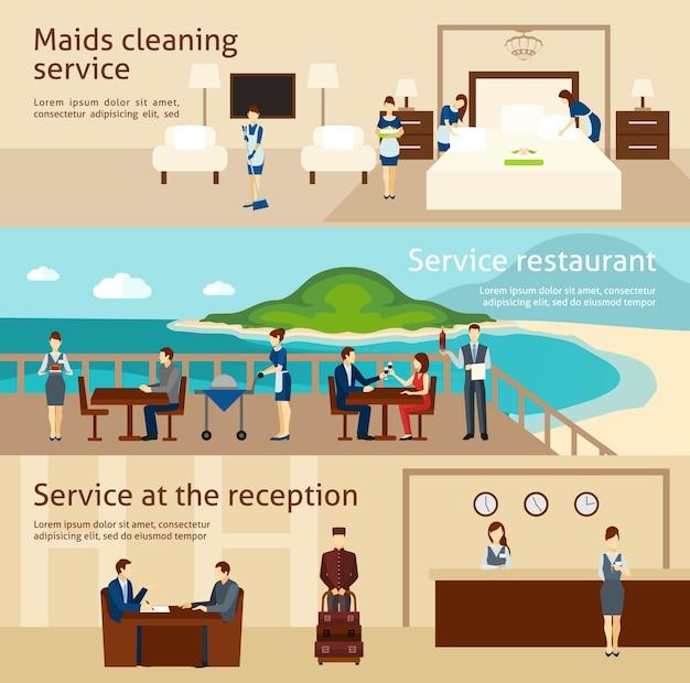 Hotel staff banner set