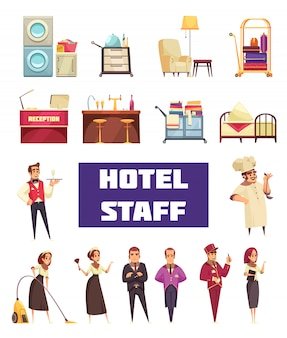 Hotel staff set with workers and furnitures