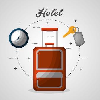 Часы чемодана гостиницы и векторная иллюстрация ключевого ключа