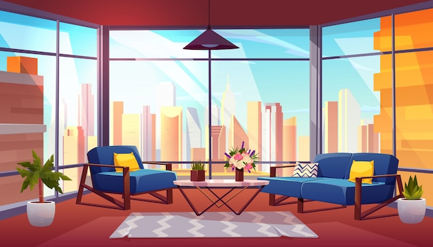 Hotel suite in skyscraper cartoon vector interior illustration