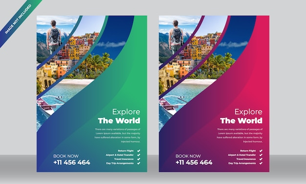 Hotel and travel flyer template