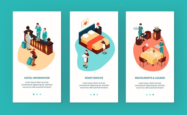 Hotel vertical banners with reception room service restaurant and lounge isometric compositions isolated