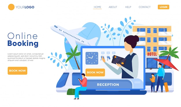 Hotel website design, online booking service, people illustration