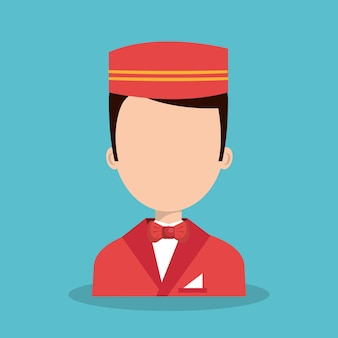 Hotel worker bellboys icon