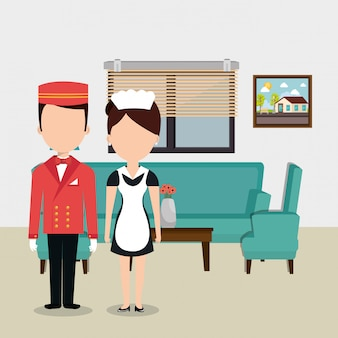 Hotel workers avatars characters