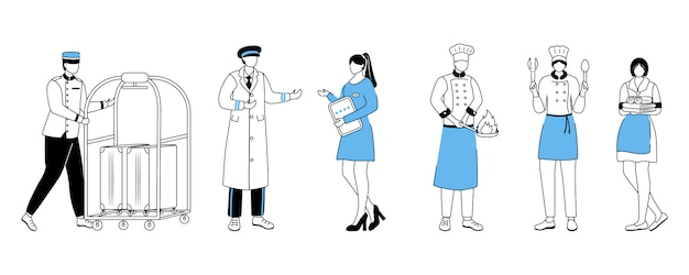 Отель работников плоской иллюстрации. портер с багажной тележкой, управляющий курортом. швейцар, повара с посудой. горничная, служанка. обслуживающий персонал мультипликационный персонаж с контуром на белом