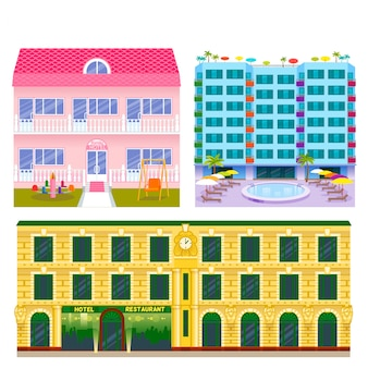 Hotels buildings tourist travelers places vacation time apartment urban town facade  illustration.