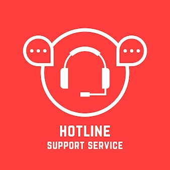 Знак службы поддержки горячей линии. концепция линии помощи, социальной сети, обратной связи, продажи, вебинара, ответа в чате, опыта технического специалиста. плоский стиль тенденции современный дизайн векторные иллюстрации на красном фоне
