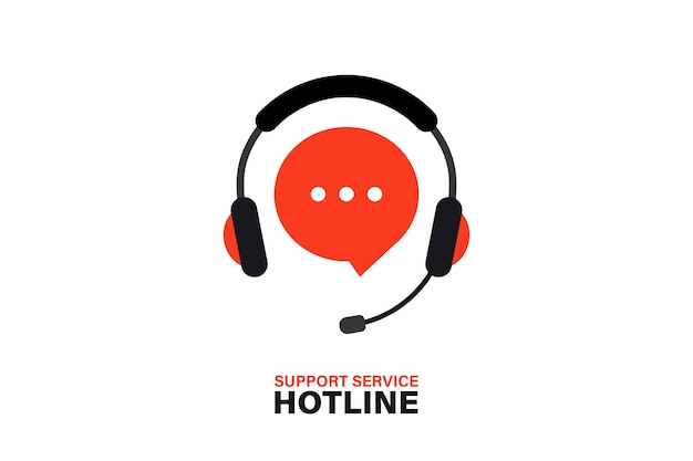 Hotline support service with headphones. call center, hotline concept of client network for ecommerce and user consultation. customer support, consultation, consultant, secretary. support service icon