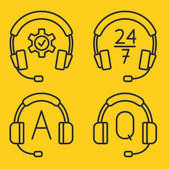 Hotline support service with headphones. concept of consultation, telemarketing, assistance, call center, virtual help service. help and support hotline buttons. headset icons. editable stroke. vector