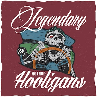 Hotrod hooligans illustration with angry dead hotrod driver