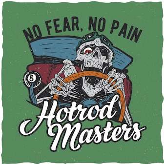 Hotrod masters poster with skeleton