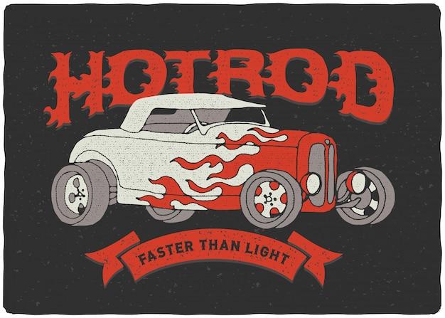 Винтажный плакат hotrod