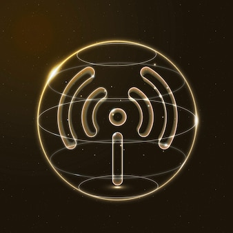 Hotspot network technology icon vector in gold on gradient background