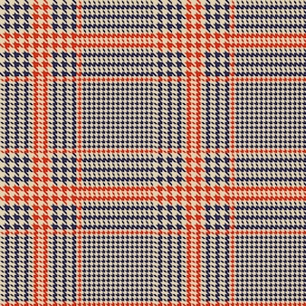 Hounds-tooth seamless vector pattern. geometric print in blue and orange color. glen plaid.