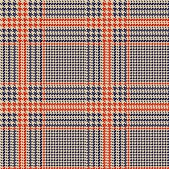 千鳥格子のシームレスなベクトルパターン。青とオレンジ色の幾何学的なプリント。グレンチェック柄。