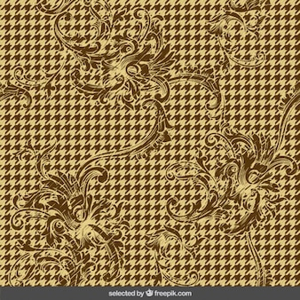 Houndstooth background with ornaments