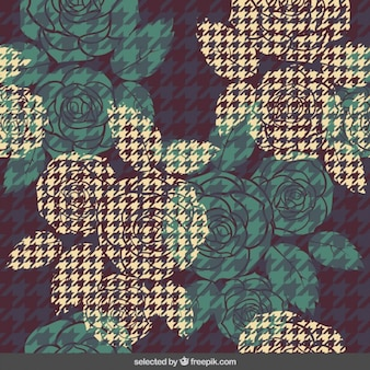 Houndstooth background with roses