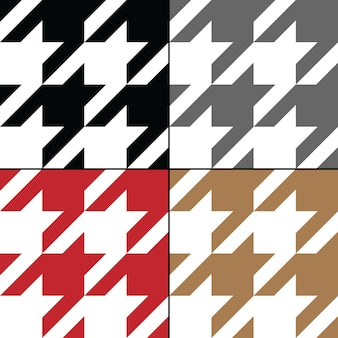 Houndstooth vector seamless pattern set traditional scottish plaid fabric collection in brown white ...