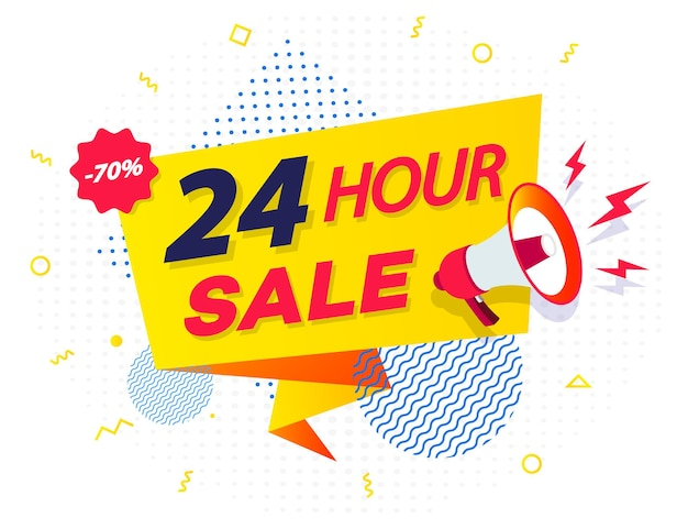 Hour sale countdown ribbon badge with megaphone and abstract elements on half tone background  eps