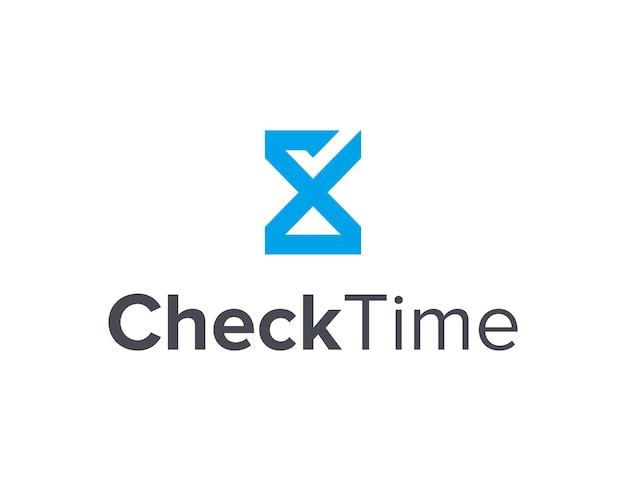 Песочные часы и галочка наброски простой гладкий креативный геометрический современный дизайн логотипа