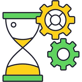 Песочные часы и шестеренка зубчатый вектор значок