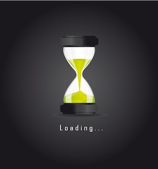Hourglass over blac background loading vector illustration