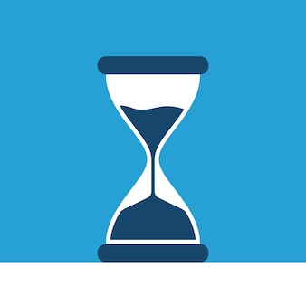 Hourglass on blue background. time management and urgency concept. flat design. eps 8 vector illustration, no transparency