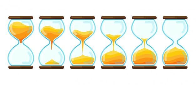 Песочные часы мультфильм установить значок. иллюстрация песочные часы на белом фоне. изолированные мультфильм набор значок песочных часов.