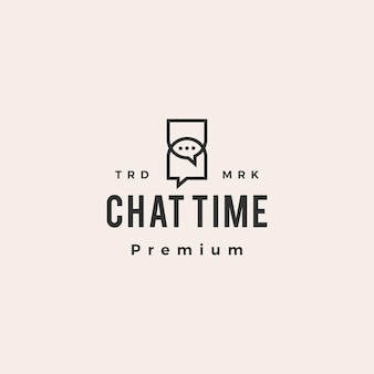Hourglass chat time hipster vintage logo