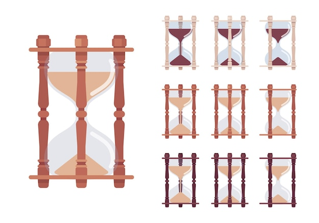 Hourglass clock set